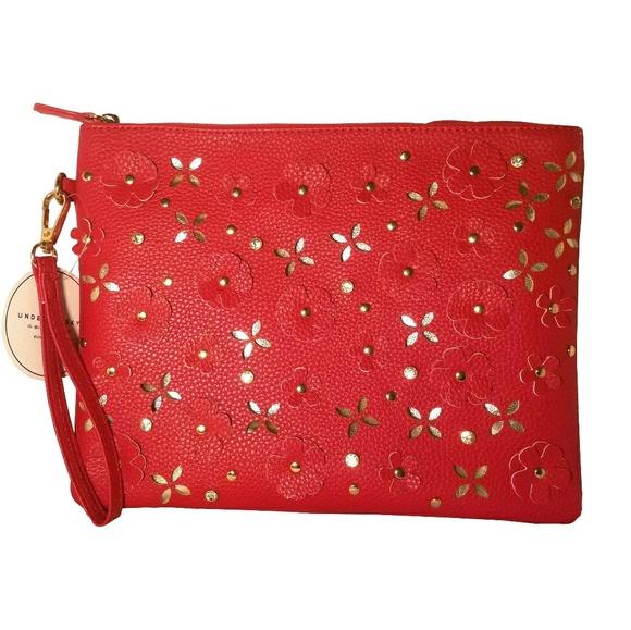 Under One Sky Handbags - Under One Sky Laser Cut Flower Red Wristlet Bag